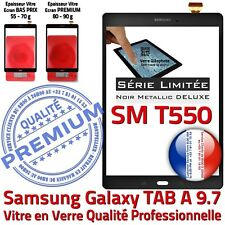Ecran PREMIUM Noir Métallique Adhésif Samsung T550 TAB A Vitre Tactile Assemblée