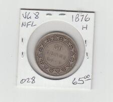 1876 H Newfoundland 50 Cents Half Dollar Coin in V G 8 Shape