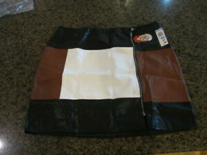 INC International Skirt Womens 20W Color Block Faux Leather zippered NWT New $99