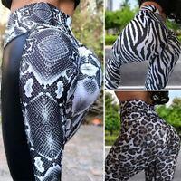 Women High Waist Yoga Fitness Snake Print Pants Gym Workout Leggings Trousers US
