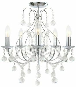 Luxury Chrome & Crystal 5 Light Ceiling Chandelier Light Lounge BHS Sapparia