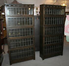 Antique Pair of Arts and Crafts Mission Oak Bookcases with leaded glass doors –