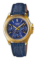 Casio New Original LTP-E304GBL-2A Gold Analog Womens Watch Blue Leather LTP-E304