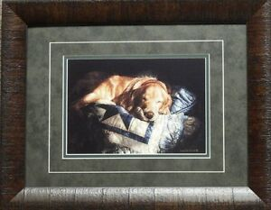 Sueellen Ross Snooze Yellow Lab Dog Art Print-Framed 19 x 15