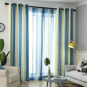 Modern Curtains Living Room Shade Linen Bedroom Nordic Gradient Striped Fabric
