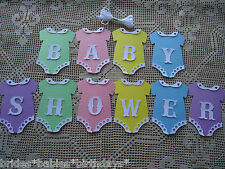 10 Bunting Flags Banners Garland BABY SHOWER Pastel Boy Girl DIY Unisex