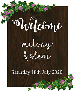 Personalised Wooden Wedding Sign in a choice of sizes and styles