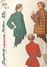Vtg 50S Pattern Simplicity #2949 Size 12 Bust 30 1 Piece Topper Car Coat Swing