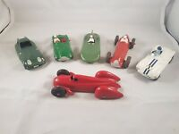 Collection of Post War racing Cars, 5x Dinky and 1x Crescent.