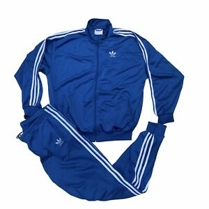 Retro Adidas Tracksuit Top & Bottoms - Shiny Blue - 38/40 - Medium