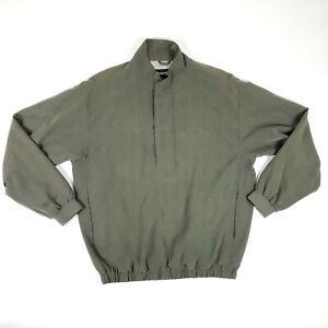 FootJoy FJ Green/Brown 1/2 Snap Button Zip Pullover Wind Jacket Mens Size Medium