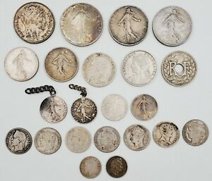 Lot of (22) 1828-1964 French Francs & Centimes Silver Coins 95.8g