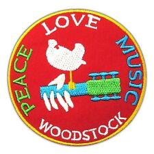 Woodstock Peace Love Music Sign Patch Embroidered Iron On Festival Guitar Hippie