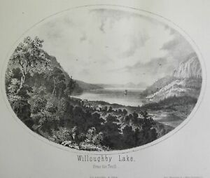 Lake Willoughby Vermont Southern View 1861 Walling lithographed view print