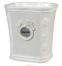 """White Ceramic """"Can Can"""" Waste Basket w/ Floral Accents by Creative Bath - New"""