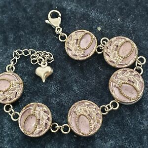 Antique Brass metal  Button Bracelet with tinted lavender buttons