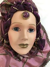 Green Gables Creation Lovely Porcelain Face Mask Lady In Purple Wall Hanging