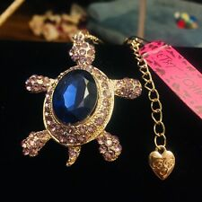 💋 NWT Betsey Johnson Shiny Silver Sapphire Turtle Sweater Necklace SPARKLE!