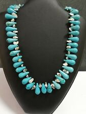 Plated Stones and Silver Clasp Beautiful Turquoise Necklace With Rhodium