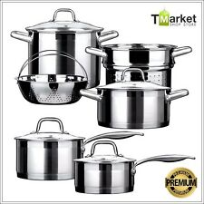 10-piece Premuim Stainless Steel Cookware Set Aluminum 18/10 Commercial Cooking