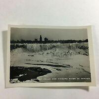 "VINTAGE 1940s Mini Photograph Souvenir 3.5X2"" Niagara American Falls in Winter"