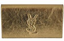 New Saint Laurent YSL 361120 Gold Leather Large Belle de Jour Clutch Handbag