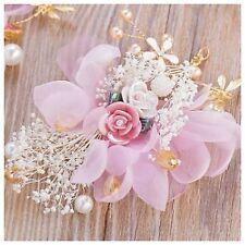 Mini Bridesmaid Bridal Wedding Pink & White Rose Hair Vine Piece Tiara