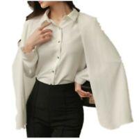 Elegant Women's Cloak Shirt Cape Long Sleeves Blouses Lapel Casual Tops Cape