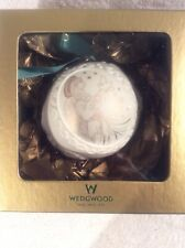 Wedgewood 2000 Ball With Gold Angel Christmas Tree Ornament Ceramic