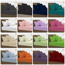 New Fitted Bed Sheets Luxury Poly Cotton Single Double King Size or Pillow Cases