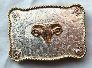 Vtg Sunset Trails Cowboy Cowgirl Ram Hand Engraved Western Belt Buckle