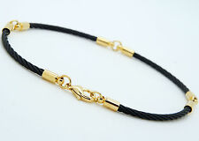 """Stainless Steel Bracelets Brass Findings Lobster Clasp Black and Gold 9"""" G3"""