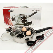 100% Genuine! D.LINE 22cm Stainless Steel 4 Cup Non-stick Egg Poacher with Lid!