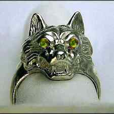 New Wolf Werewolf Citrine stone Sterling Silver .925 Ring Gothic Lycan Jewelry