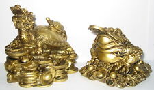 2x Glücksbringer auf Münzen Drachenschildkröte, Feng Shui, Kunststoff, 11x10x9cm