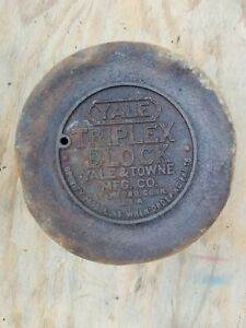 Vintage Round YALE Chain Hoist Cover Rusty Dented Man Cave Garage Wall Hanger