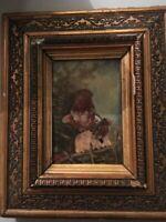 peinture curiosité HSP 1892 cadre huile sur panneau bois portrait enfants signé