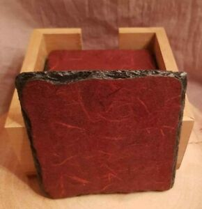6 slate coasters plus wooden holder rustic hand crafted decoupage