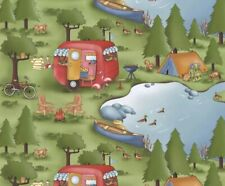 Camp Adventures Camping Outdoors Allover Green Cotton Flannel Fabric BTY