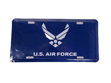 Blue USAF US Air Force White Wings Emblem License Plate Tag