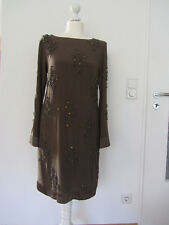 Luxus Seiden Kleid Maliparmi ? braun Perlen Stickerei Seide Gr. 36 38 TOP!