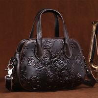 Genuine Leather Print Vintage Women's Handbag Shoulder Bag Satchel Purse Hobo QU