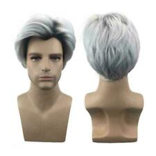 For Descendants Carlos Cosplay Wig Men's White Black Hair Mix Short Color Y3Z8