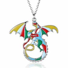New Colorful Rainbow Printing Dragon Tags Pendant Necklace Women Lady Jewellery