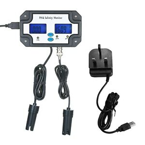Ph Salinity Meter Water Quality Tester Detector Monitor 2-In-1 Analysis Device