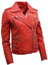 Ladies Red Real 100% Lamb Nappa Leather Biker Jacket