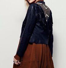 Free People Cleobella Sundown Jacket, leather, fringe, black, small, NWOT