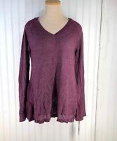 Women's Pointelle Ruffle Hem Sweater - Knox Rose Burgundy Size M NEW