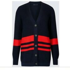 M & S Collection Cardigan Cotton Blend Striped Longline Navy Red Bnwt Size L