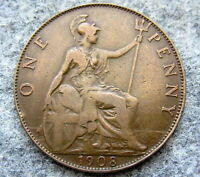 GREAT BRITAIN EDWARD VII 1908 ONE PENNY BRONZE